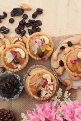Mini almond nuts,fruit tart is delicious.