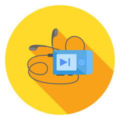 Mp3 music player. Vector flat icon.