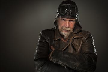 grim-looking biker