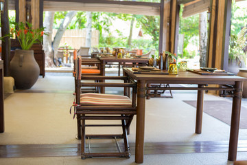 KRABI, THAILAND - May 19: Restaurant at Rayavadee Resort Hotel,