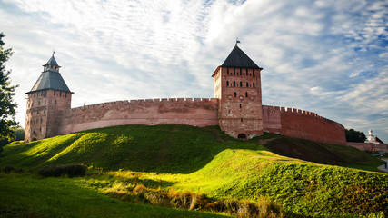Foto auf Leinwand Befestigung The red brick wall of kremlin of Great Novgorod