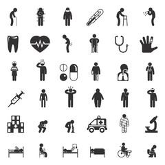 Sick and medical icons. People health care