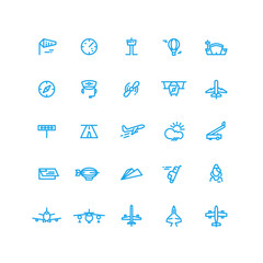 Aviation and airport line vector icons set