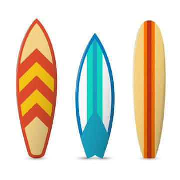 Vector color surfboard set