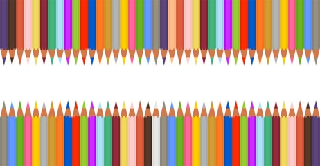 Set of colored crayons in a row next to each other up and down. Sharp wooden pencils