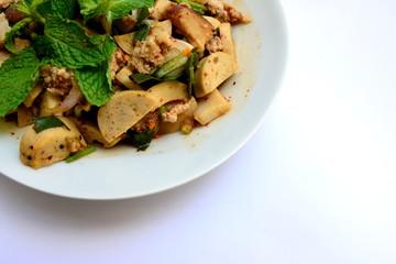 Spicy minced pork and preserved pork sausage salad