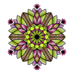 Nice colorful Vector Mandala. Geometric circle element.