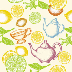 Tea seamless pattern hand drawn ink vintage vector