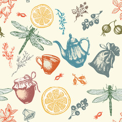 Herbal tea seamless pattern vector botanical decorative vintage