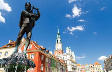 Obraz Fontanna na Starym Rynku w Poznaniu - fototapety do salonu