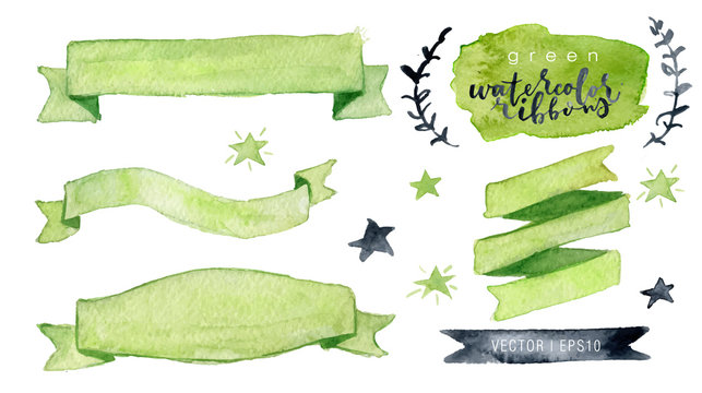 Watercolor vector collection green ribbons, label, floral elements, stars. Hand drawn watercolor design elements isolated on white background.