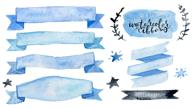Watercolor vector collection blue ribbons, label, floral elements, stars. Hand drawn watercolor design elements isolated on white background.