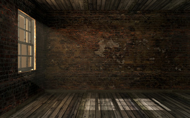 Empty dark old abandoned room with old cracked brick wall and old hardwood floor with volume light through window pane. Huanted room in dark atmosphere with dim light, 3D rendering