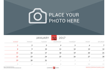 Wall Monthly Calendar for 2017 Year. Vector Design Print Template. Week Starts Sunday. Landscape Orientation. January