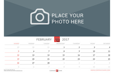 Wall Monthly Calendar for 2017 Year. Vector Design Print Template. Week Starts Sunday. Landscape Orientation. February