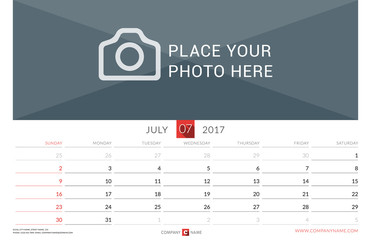 Wall Monthly Calendar for 2017 Year. Vector Design Print Template. Week Starts Sunday. Landscape Orientation. July