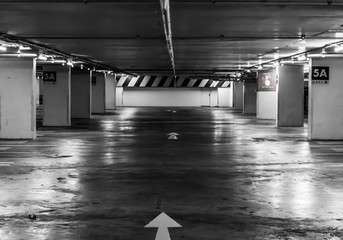 Empty underground parking background with copy space.