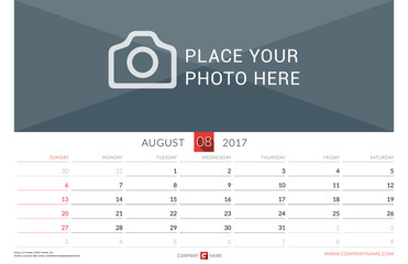 Wall Monthly Calendar for 2017 Year. Vector Design Print Template. Week Starts Sunday. Landscape Orientation. August