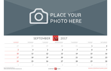 Wall Monthly Calendar for 2017 Year. Vector Design Print Template. Week Starts Sunday. Landscape Orientation. September