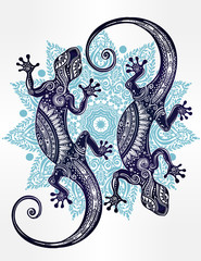 Gecko ornate lizard in zentangle style.