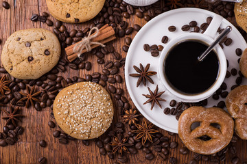 lack coffee on a wooden background