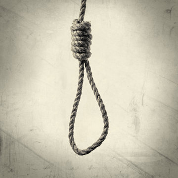 image hanging rope with Lynch's loop on a  background with texture