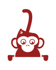 flat design single monkey icon vector illustration
