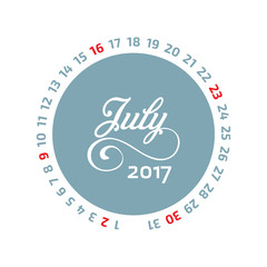 August calendar 2017. Hand Drawn month name calligraphy. Flat Circle Calendar Vector illustration