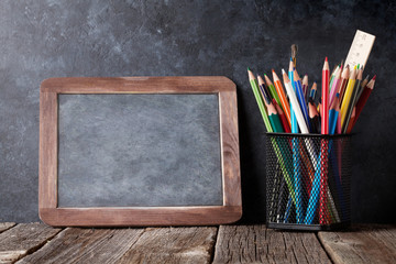 Supplies  and chalk board