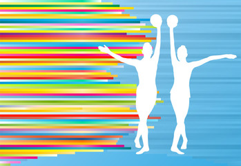 Gymnastic girl with ball abstract vector background colorful str