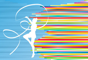 Gymnastic girl with ribbon abstract vector background colorful s