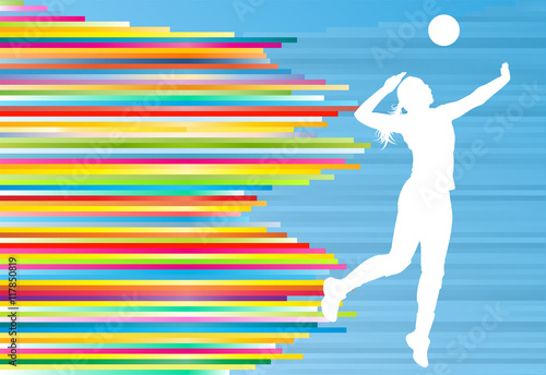 """Illustration Abstract Volleyball Player Silhouette: """"Volleyball Player Woman Silhouette Abstract Vector"""