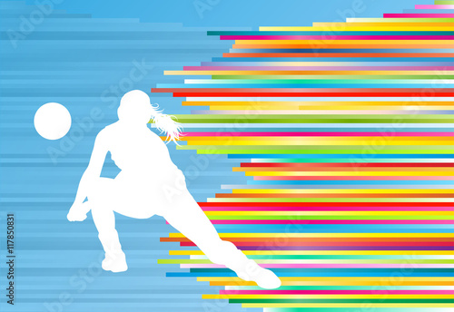 "Illustration Abstract Volleyball Player Silhouette: ""Volleyball Player Woman Silhouette Abstract Vector"