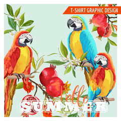 Foto op Canvas Papegaai Tropical Graphic Design. Parrot Birds, Pomegranates and Tropical Flowers