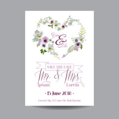 Save the Date Wedding Card.  Lily and Anemone Flowers. Vector Flowers