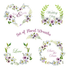 Vintage Lily and Anemone Flowers Geometric Background - Summer Background