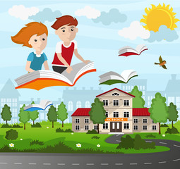 School children flying on a book