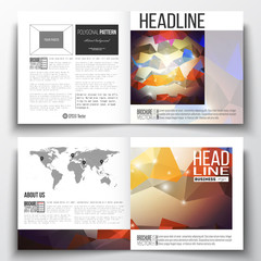 Set of square design brochure template. Abstract colorful polygonal background, modern stylish triangle vector texture