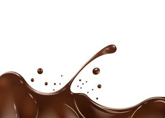 Chocolate splash on white background.