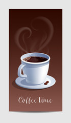 Coffee Time Banner with Coffee Cup and Heart Shaped Steaming.