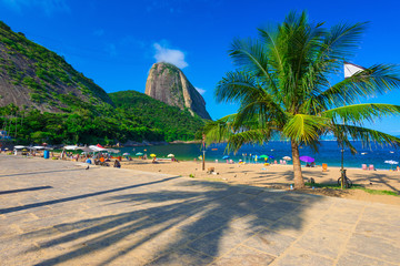 Mountain Sugar Loaf and Vermelha beach in Rio de Janeiro. Brazil