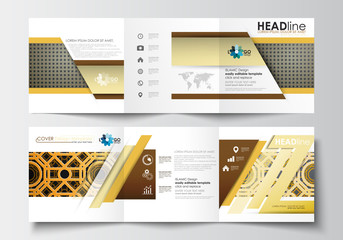 Set of business templates for tri-fold brochures. Square design. Leaflet cover, flat layout, easy editable blank. Islamic gold pattern, overlapping geometric shapes forming abstract ornament.