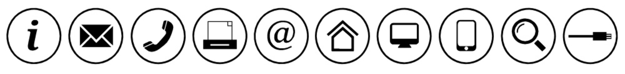 kontakt icons symbol buttons schwarz