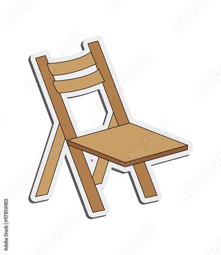 """flat design single folding chair icon vector illustration ..."