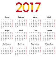 Spanish Calendar for 2017. Mondays first.