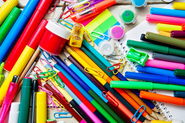 Colorful assortment of school supplies