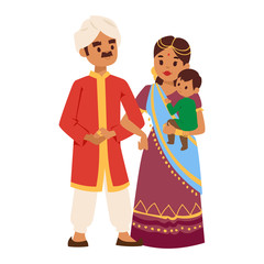 c2e8e943df Vector illustration of Indian couple of different culture standing ...