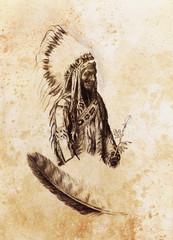 drawing of native american indian foreman Sitting Bull - Totanka Yotanka according historic photography, with beautiful feather headdress, holding rose flower.