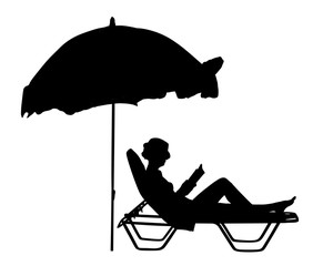 Young beautiful woman lying down on sun bed sofa lounge chair on holidays. Summer luxury vacation. Woman reading a book on the beach vector silhouette illustration, sunbathing by the pool.
