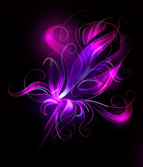Abstract purple flower over black background - artistic sketch illustration